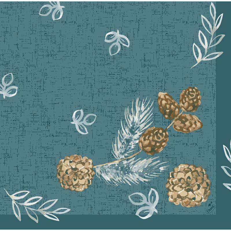 Image of   Middagsserviet, Dunisoft Pine Cones, 1/4 fold, 40x40cm, ocean teal *Denne vare tages ikke retur*