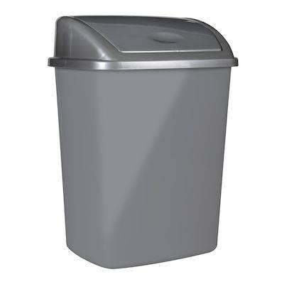 Image of   Affaldsspand, 23,5x30x40,5cm, 15 l, grå, plast, med sving låg