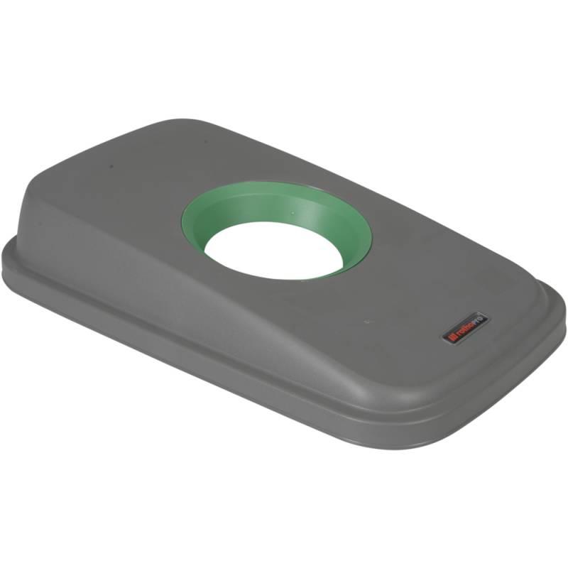 Image of   Låg, Rotho Selecto, 49x29x9cm, grå, med grøn rund åbning