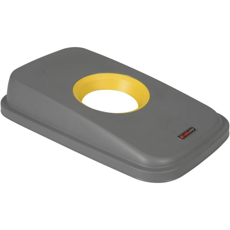 Image of   Låg, Rotho Selecto, 49x29x9cm, grå, med gul rund åbning
