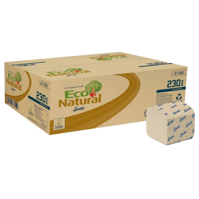 Image of   Toiletpapir i ark, Lucart T3 Natural, 2-lags, 21x10cm, sand, 100% genbrugspapir