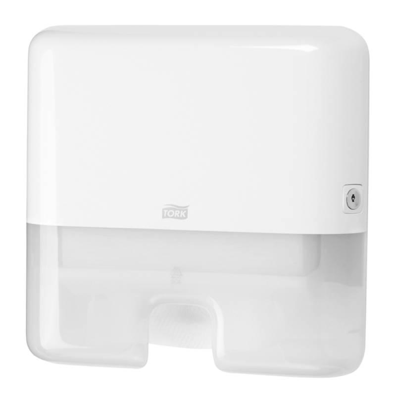 Image of   Dispenser, Tork H2, Mini, 10,1x30,2x29,5cm, hvid, plast, til interfold håndklædeark