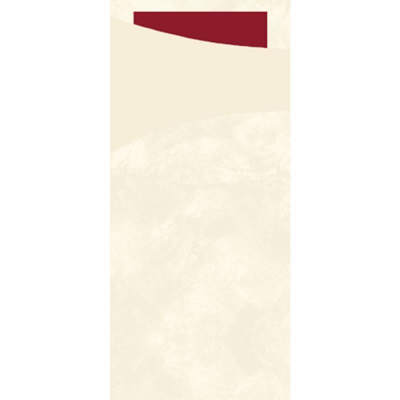 Image of   Bestiklomme, Duni Sacchetto, 20x8,5cm, buttermilk, papir, med bordeaux serviet *Denne vare tages ikke retur*