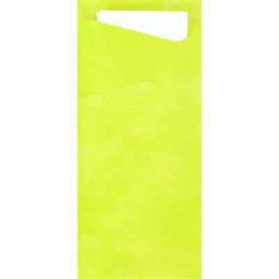 Image of   Bestiklomme, Duni Sacchetto, 20x8,5cm, kiwi, papir, med hvid serviet *Denne vare tages ikke retur*