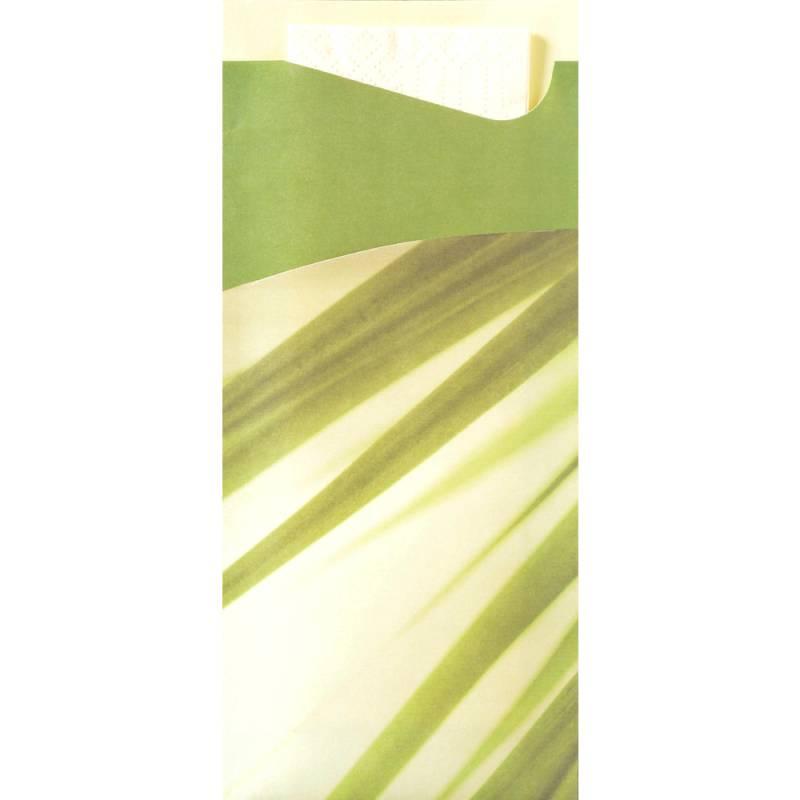 Image of   Bestiklomme, Duni Sacchetto, 20x8,5cm, bamboo, papir, med hvid serviet *Denne vare tages ikke retur*