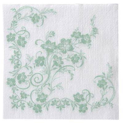 Frokostserviet, Katja, 1-lags, 1/4 fold, 33x33cm, grøn, papir