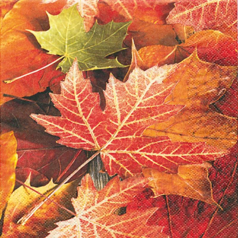 Image of   Frokostserviet, 3-lags, 1/4 fold, 33x33cm, flerfarvet, 100% nyfiber, efterårsblade