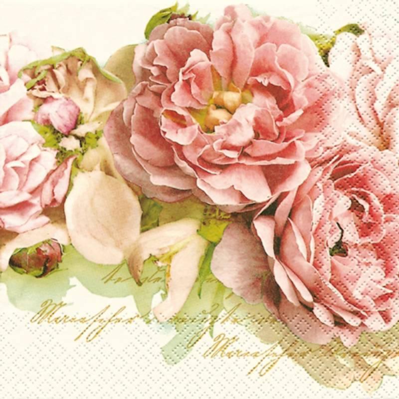 Image of   Frokostserviet, 3-lags, 1/4 fold, 33x33cm, flerfarvet, 100% nyfiber, historisk rose