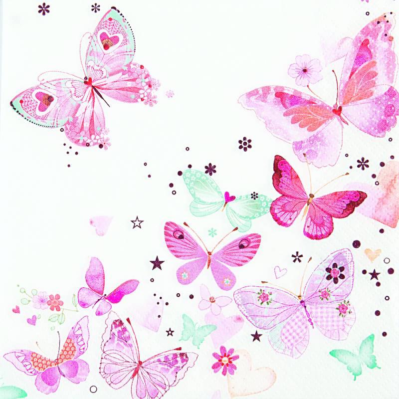 Image of   Frokostserviet, 3-lags, 1/4 fold, 33x33cm, flerfarvet, papir, butterfly