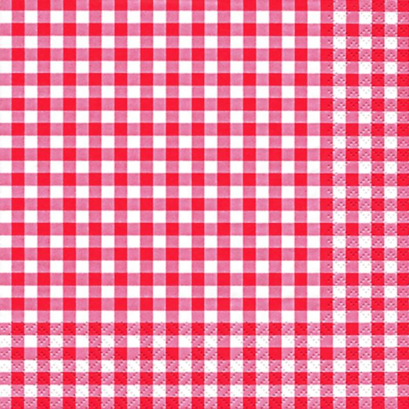 Image of   Frokostserviet, Karo, 3-lags, 1/4 fold, 33x33cm, rød, 100% nyfiber, med tern