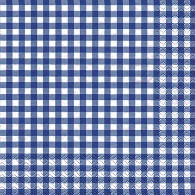 Image of   Frokostserviet, Karo, 3-lags, 1/4 fold, 33x33cm, blå, 100% nyfiber, med tern
