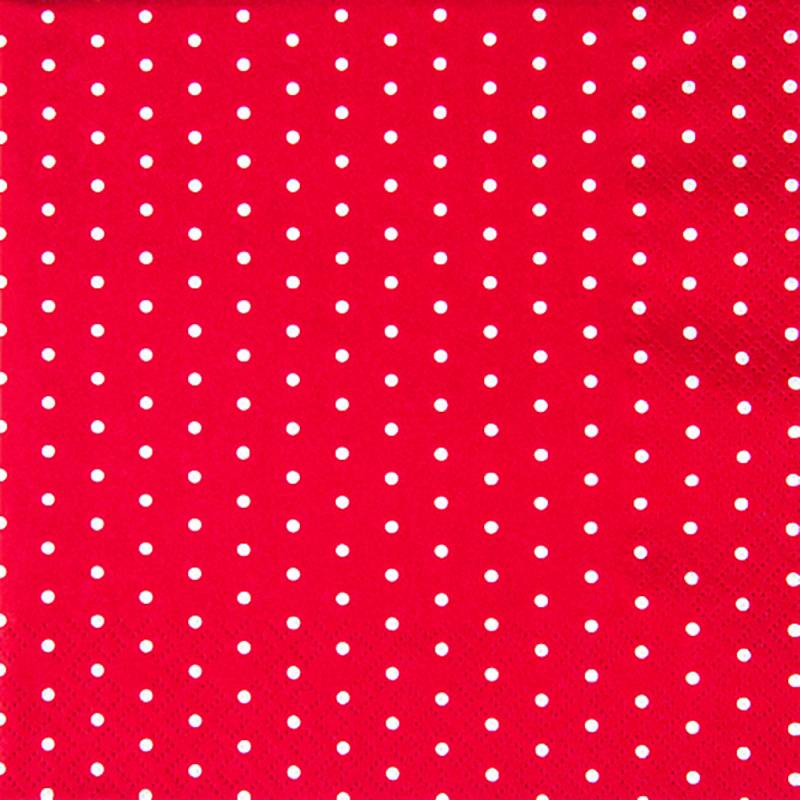 Image of   Frokostserviet, Mini Dots, 3-lags, 1/4 fold, 33x33cm, rød, 100% nyfiber, med dots