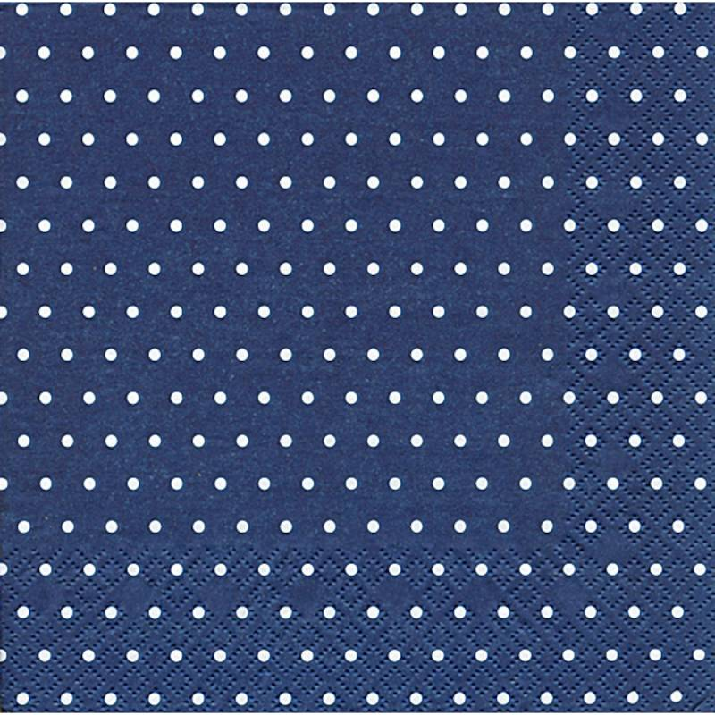 Image of   Frokostserviet, Mini Dots, 3-lags, 1/4 fold, 33x33cm, blå, 100% nyfiber, med dots