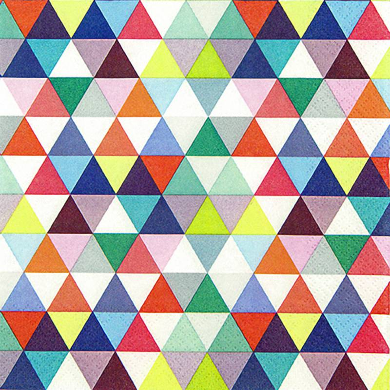 Image of   Frokostserviet, 3-lags, 1/4 fold, 33x33cm, flerfarvet, 100% nyfiber, caleidoscope