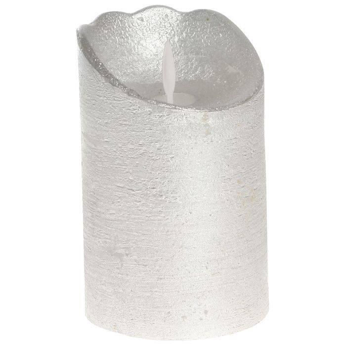 Image of   LED bloklys, 13cm, Ø8cm, sølv, plast, med bevægelig flamme *Denne vare tages ikke retur*