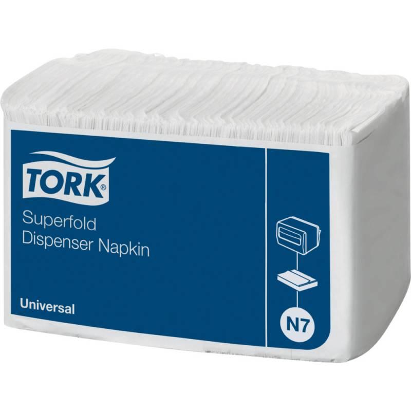 Dispenserserviet, Tork Superfold, 1-lags, superfold, 41x31cm, hvid, 100% genbrugspapir