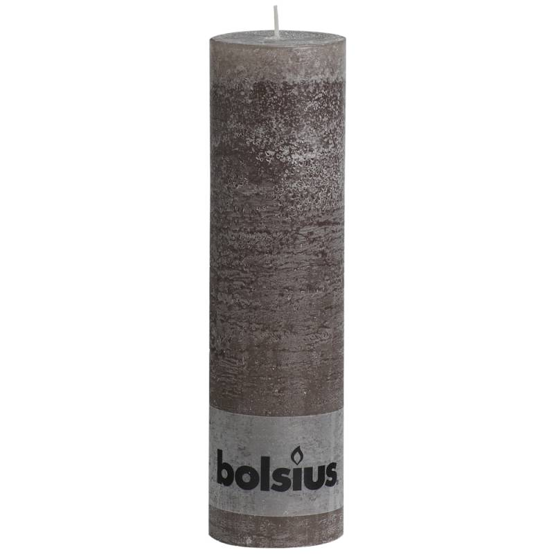 Image of   Bloklys, Bolsius, 19cm, Ø6,8cm, taupe, 65 timer, 100% paraffin