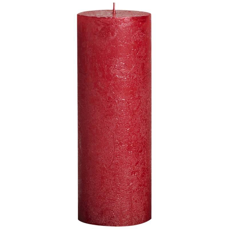 Image of   Bloklys, Bolsius, 19cm, Ø6,8cm, metallic rød, 65 timer, 100% paraffin