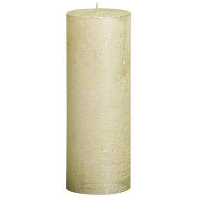 Image of   Bloklys, Bolsius, 19cm, Ø6,8cm, metallic elfenben, 65 timer, 100% paraffin *Denne vare tages ikke retur*