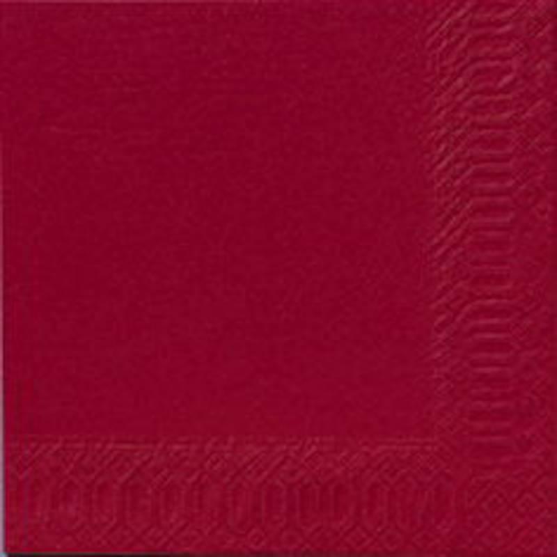 Image of   Frokostserviet, Duni, 3-lags, 1/4 fold, 33x33cm, bordeaux, papir *Denne vare tages ikke retur*