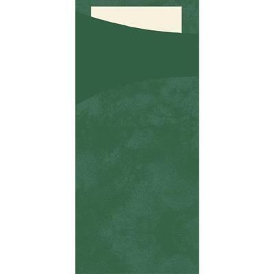 Image of   Bestiklomme, Duni Sacchetto, 20x8,5cm, mørkegrøn, papir, med buttermilk serviet *Denne vare tages ikke retur*
