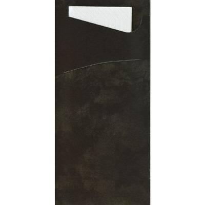 Image of   Bestiklomme, Duni Sacchetto, 19x8,5cm, sort, papir, med hvid serviet *Denne vare tages ikke retur*