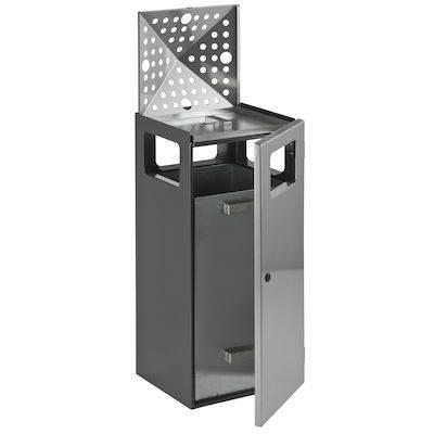 Udendørs affaldsspand med askebæger, 90 l, grå