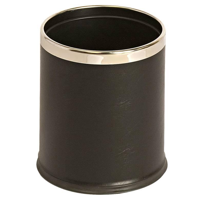 Papirkurv, 10 l, sort, med læderlook og metalkant, skjuler posen *Denne vare tages ikke retur*