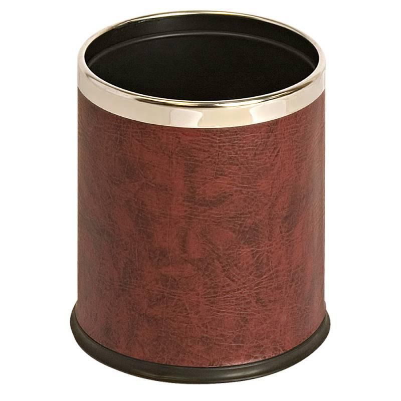 Papirkurv, 10 l, rød, med læderlook og metalkant, skjuler posen *Denne vare tages ikke retur*