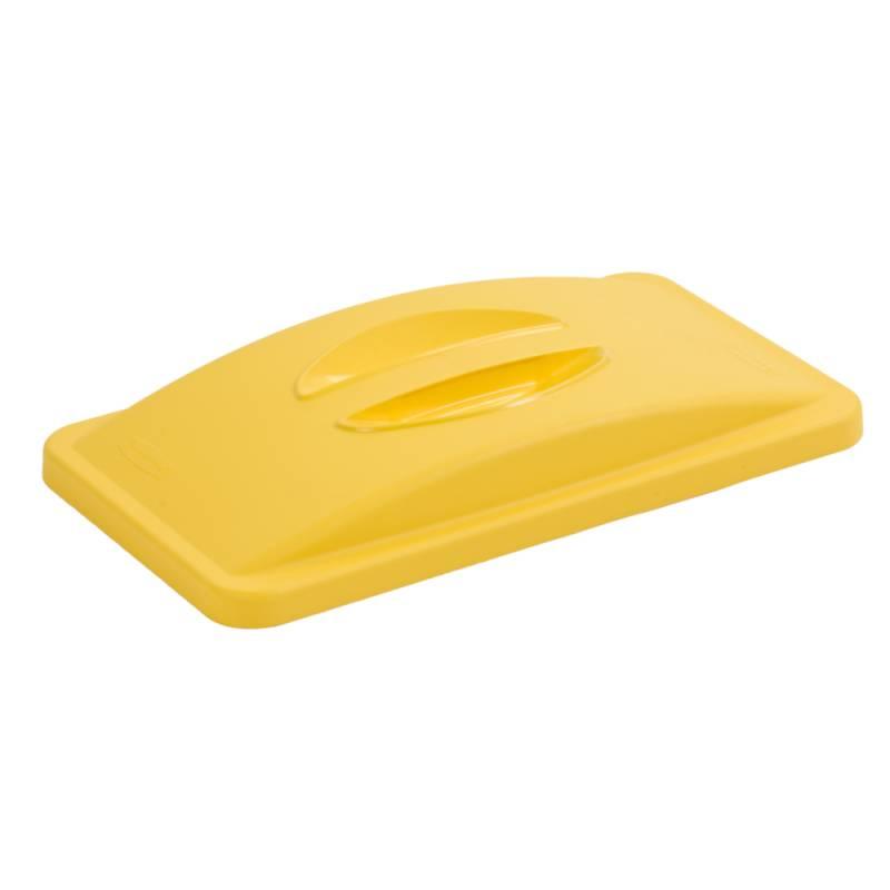 Image of   Låg, Rubbermaid Slim Jim, gul, lukket, til blandet affald *Denne vare tages ikke retur*