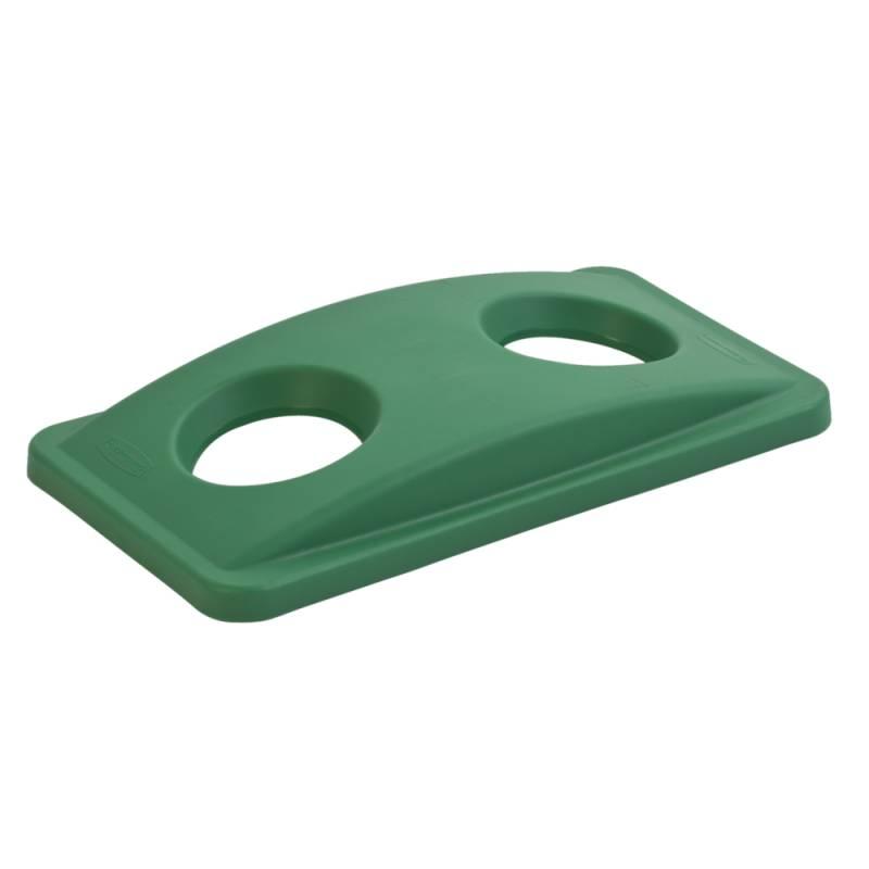 Image of   Låg, Rubbermaid Slim Jim, grøn, med 2 huller, til kildesortering af flasker, dåser og kopper/glas *Denne vare tages ikke retur*
