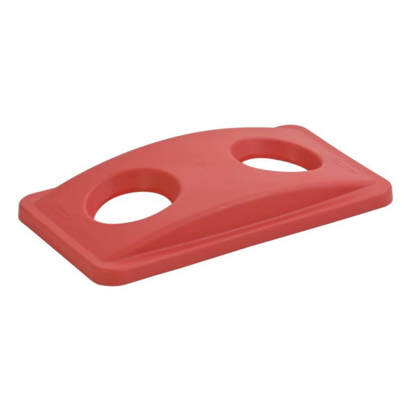 Image of   Låg, Rubbermaid Slim Jim, rød, med 2 huller, til kildesortering af flasker, dåser og kopper/glas *Denne vare tages ikke retur*
