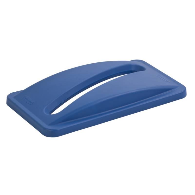 Image of   Låg, Rubbermaid Slim Jim, blå, med indkast til papir *Denne vare tages ikke retur*