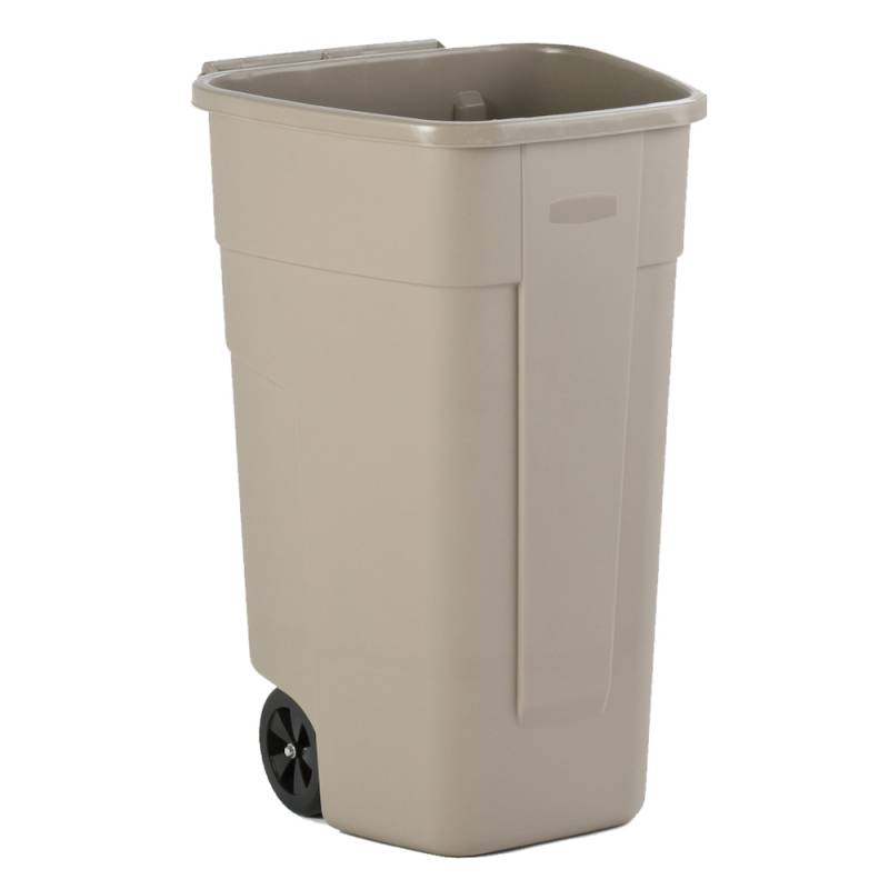 Image of Affaldscontainer, Rubbermaid, 110 l, beige, med 2 hjul, uden låg