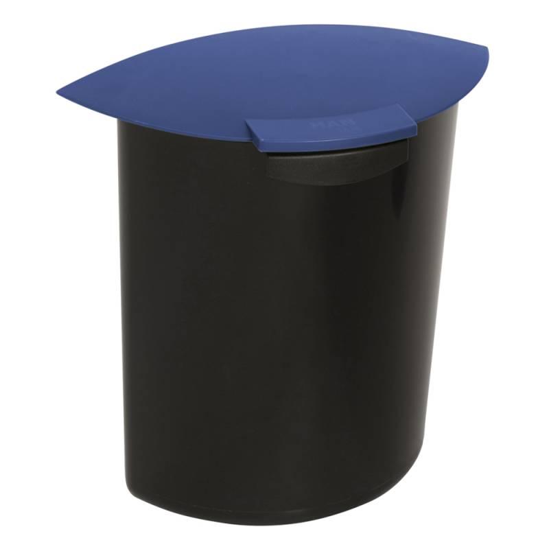 Indsats, 6 l, blå, med låg, til rund affaldsspand *Denne vare tages ikke retur*