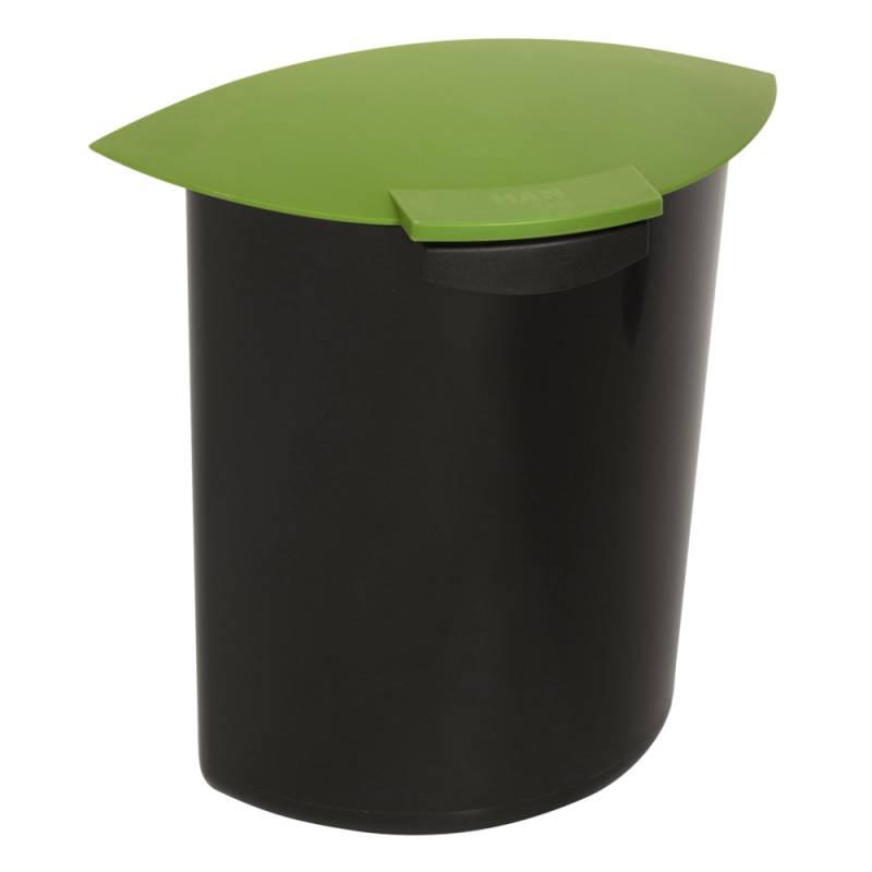Image of   Indsats, 6 l, grøn, med låg, til rund affaldsspand