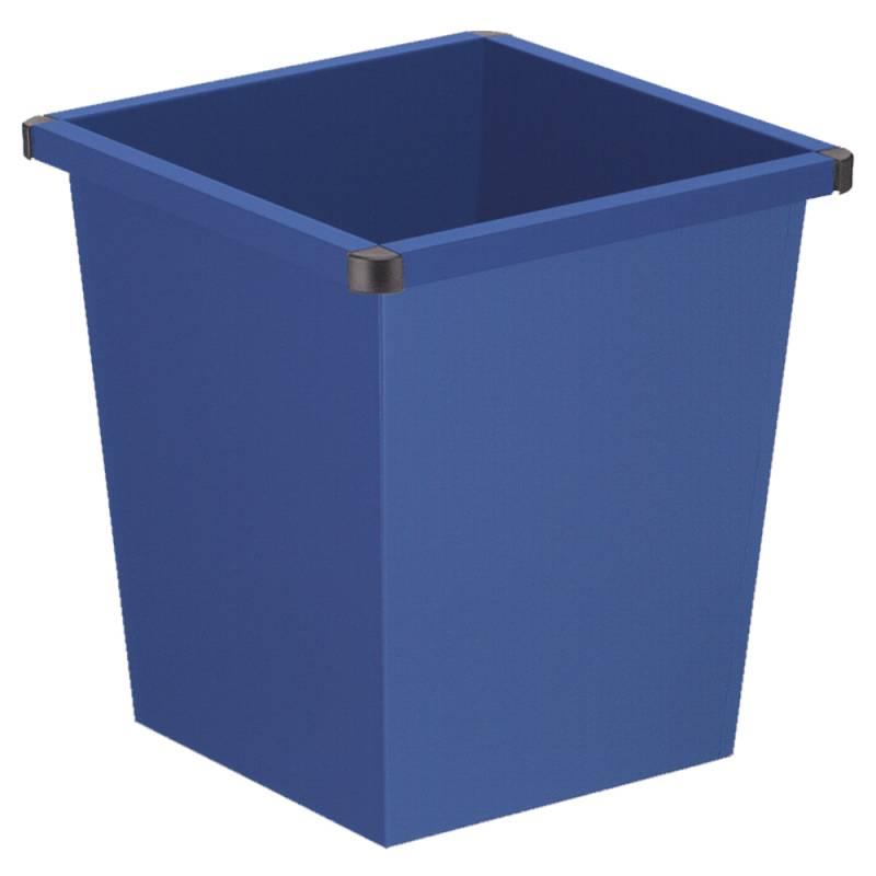 Papirkurv, 27 l, blå, firkantet, med plast beskyttende hjørner *Denne vare tages ikke retur*