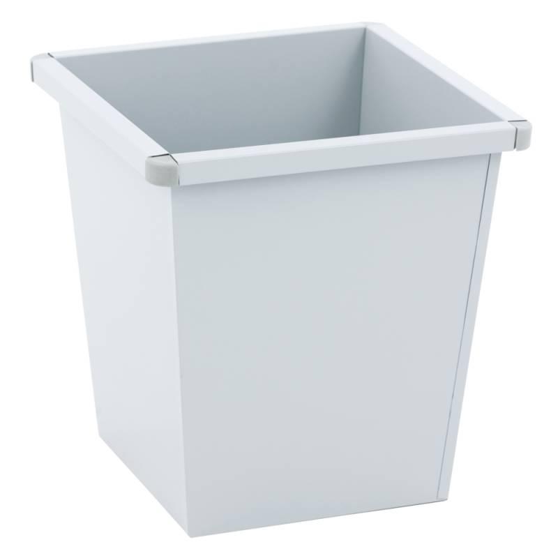 Papirkurv, 27 l, grå, firkantet, med plast beskyttende hjørner *Denne vare tages ikke retur*