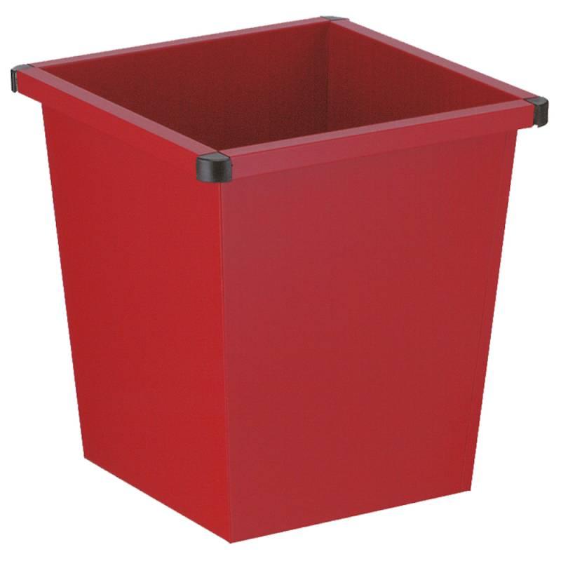 Papirkurv, 27 l, rød, firkantet, med plast beskyttende hjørner *Denne vare tages ikke retur*