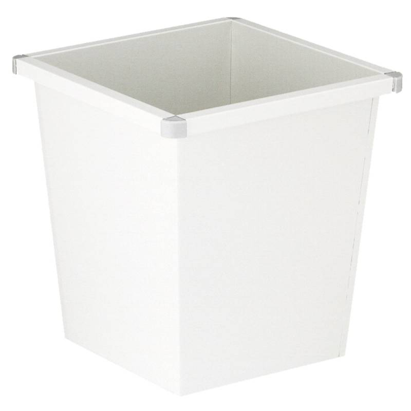 Papirkurv, 27 l, hvid, firkantet, med plast beskyttende hjørner *Denne vare tages ikke retur*