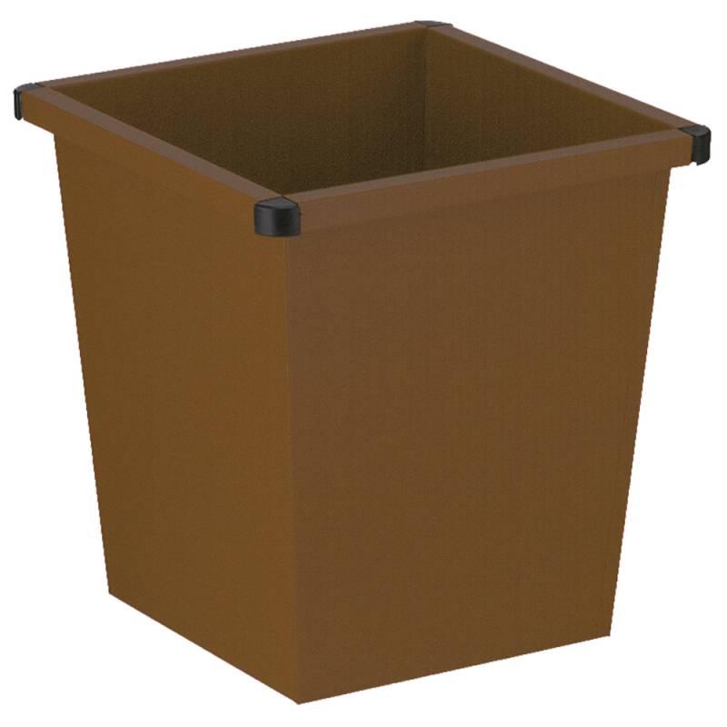 Papirkurv, 27 l, brun, firkantet, med plast beskyttende hjørner *Denne vare tages ikke retur*