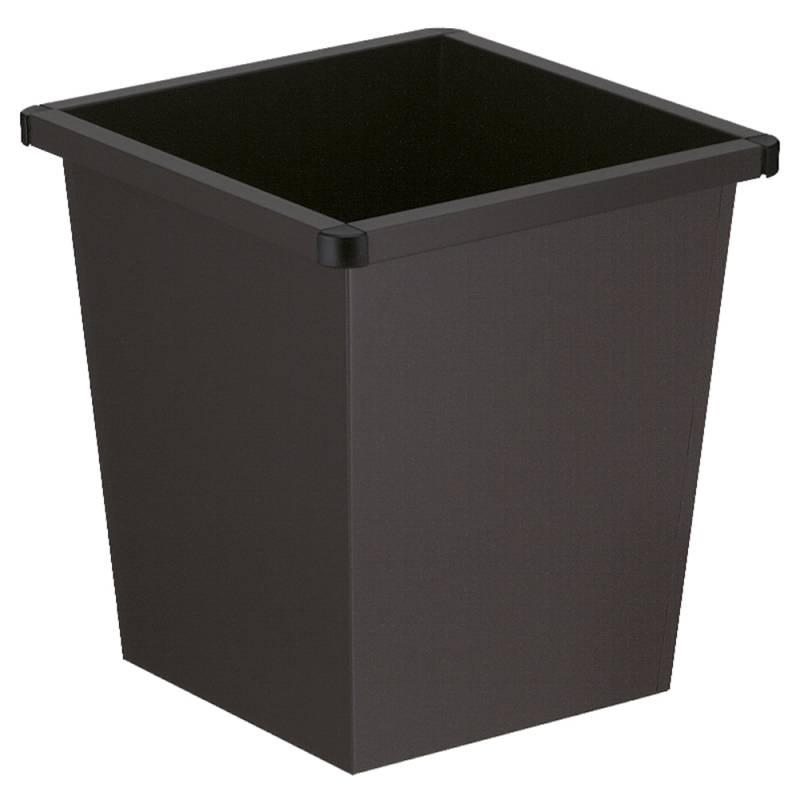 Papirkurv, 27 l, sort, firkantet, med plast beskyttende hjørner *Denne vare tages ikke retur*