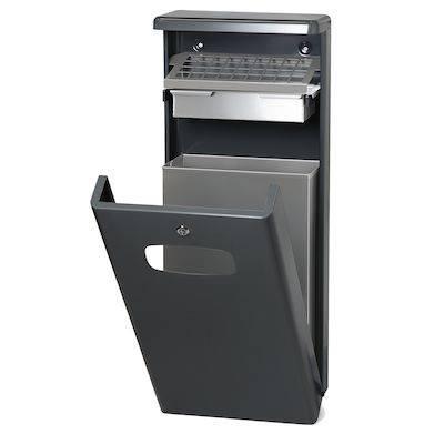 Udendørs affaldsspand med askebæger, 32 l, antracit *Denne vare tages ikke retur*