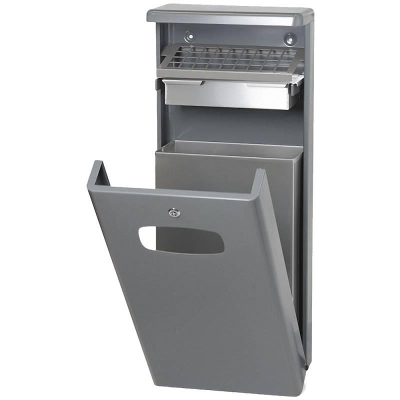 Udendørs affaldsspand med askebæger, 32 l, grå *Denne vare tages ikke retur*