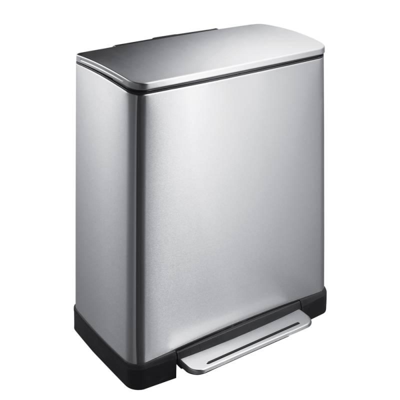 Image of   Pedalspand, EKO E-cube, 46 l, stål mat, 2-rums *Denne vare tages ikke retur*