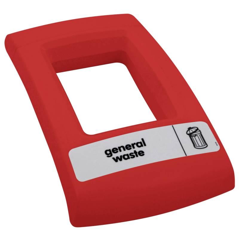 Image of   Låg, Enviro, rød, med åbent indkast, til alle typer affald *Denne vare tages ikke retur*