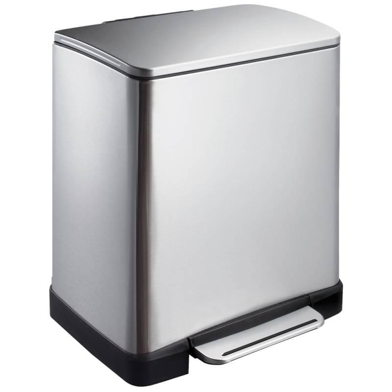 Image of   Pedalspand, EKO E-cube, 19 l, stål mat, 2-rums *Denne vare tages ikke retur*