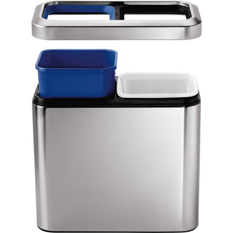 Image of   Papirkurv, Simplehuman, 20 l, stål mat, 2-rums, med hvid og blå inderspand *Denne vare tages ikke retur*