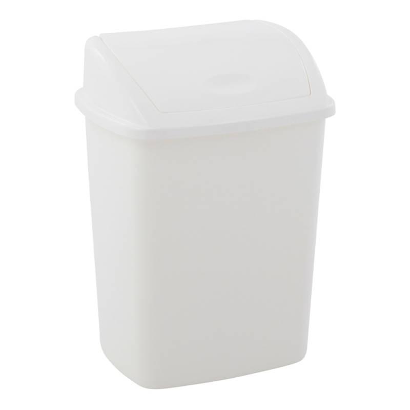 Image of   Affaldsspand, 23,5x30x40,5cm, 15 l, hvid, plast, med sving låg