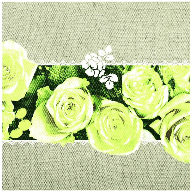 Image of   Middagsserviet, Lovely Roses, 1/4 fold, 40x40cm, gul, Linclass/airlaid
